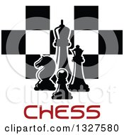 Clipart Of Chess Pieces Over Checkers And Red Text Royalty Free Vector Illustration