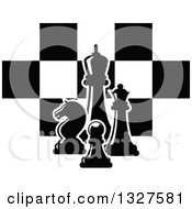 Clipart Of Black And White Chess Pieces Over Checkers Royalty Free Vector Illustration