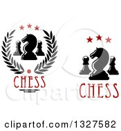 Clipart Of Chess Knight And Pawn Designs With Text Royalty Free Vector Illustration