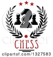 Clipart Of A Chess Knight And Pawn Pieces In A Star And Laurel Wreath Over Text Royalty Free Vector Illustration by Vector Tradition SM