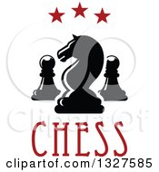 Clipart Of A Chess Knight And Pawn Pieces Under Red Stars And Over Text Royalty Free Vector Illustration by Vector Tradition SM