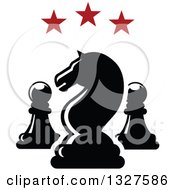 Clipart Of A Chess Knight And Pawn Pieces Under Red Stars Royalty Free Vector Illustration