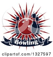 Clipart Of A Navy Blue And Red Bowling Ball And Pins Over A Burst And Text Banner Royalty Free Vector Illustration by Vector Tradition SM