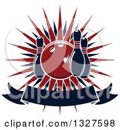 Clipart Of A Navy Blue And Red Bowling Ball And Pins Over A Burst And Blank Banner Royalty Free Vector Illustration by Vector Tradition SM