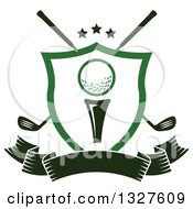 Golf Ball On A Tee In A Shield Over Crossed Clubs And A Blank Ribbon Banner