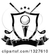 Black And White Golf Ball On A Tee In A Shield Over Crossed Clubs And A Blank Ribbon Banner