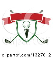 Golf Ball On A Tee In A Shield Over Crossed Clubs With A Blank Red Ribbon Banner