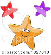 Clipart Of Cartoon Red Purple And Orange Starfish Characters Royalty Free Vector Illustration