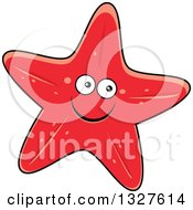 Clipart Of A Cartoon Red Starfish Character Royalty Free Vector Illustration