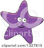 Clipart Of A Cartoon Purple Starfish Character Royalty Free Vector Illustration