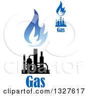 Clipart Of Black And Blue Natural Gas And Flame Designs With Text 11 Royalty Free Vector Illustration