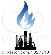 Clipart Of A Black And Blue Natural Gas And Flame Design 12 Royalty Free Vector Illustration