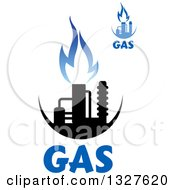 Clipart Of Black And Blue Natural Gas And Flame Designs With Text 12 Royalty Free Vector Illustration