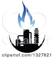 Clipart Of A Black And Blue Natural Gas And Flame Design 13 Royalty Free Vector Illustration