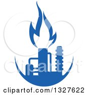 Clipart Of A Blue Natural Gas And Flame Design 12 Royalty Free Vector Illustration