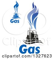 Clipart Of Black And Blue Natural Gas And Flame Designs With Text 13 Royalty Free Vector Illustration