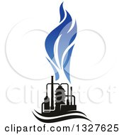 Clipart Of A Black And Blue Natural Gas And Flame Design 14 Royalty Free Vector Illustration