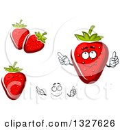 Clipart Of A Cartoon Face Hands And Strawberries Royalty Free Vector Illustration