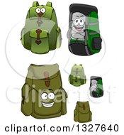 Clipart Of Cartoon Green Backpacks Royalty Free Vector Illustration