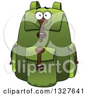 Clipart Of A Cartoon Green Backpack Character Royalty Free Vector Illustration