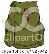 Clipart Of A Cartoon Green Backpack Royalty Free Vector Illustration