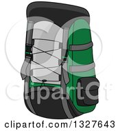 Clipart Of A Cartoon Green Black And Gray Backpack Royalty Free Vector Illustration