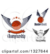 Clipart Of Winged Basketballs With Text Royalty Free Vector Illustration