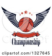Clipart Of A Winged Basketball With Stars Over Text And A Blank Banner Royalty Free Vector Illustration