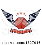Clipart Of A Winged Basketball With Stars Over A Blank Banner Royalty Free Vector Illustration