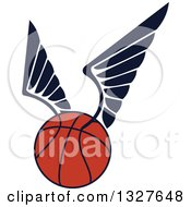 Clipart Of A Winged Basketball Royalty Free Vector Illustration