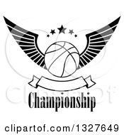 Clipart Of A Black And White Winged Basketball With Stars Over Text And A Blank Banner Royalty Free Vector Illustration