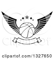 Clipart Of A Black And White Winged Basketball With Stars Over A Blank Banner Royalty Free Vector Illustration