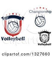 Volleyball Shields With Text And Stars