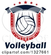 Red White And Blue Volleyball Shield With Stars And A Blank Banner Over Text