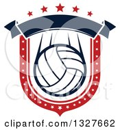 Red White And Blue Volleyball Shield With Stars And A Blank Banner