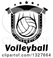 Black And White Volleyball Shield With Stars And A Blank Banner Over Text
