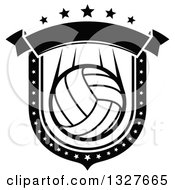 Black And White Volleyball Shield With Stars And A Blank Banner