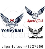 Clipart Of Navy Blue And Black Winged And Crowned Volleyballs With Text Royalty Free Vector Illustration