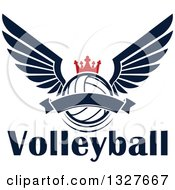 Clipart Of A Navy Blue Winged Crowned Volleyball With A Blank Banner Over Text Royalty Free Vector Illustration