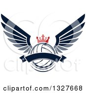 Clipart Of A Navy Blue Winged Crowned Volleyball With A Blank Banner Royalty Free Vector Illustration