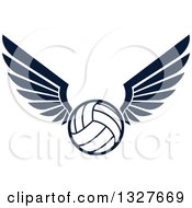 Clipart Of A Navy Blue Winged Volleyball Royalty Free Vector Illustration