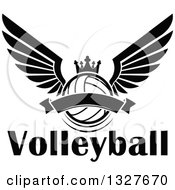 Clipart Of A Black And White Winged Crowned Volleyball With A Blank Banner Over Text Royalty Free Vector Illustration