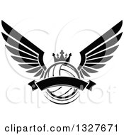 Clipart Of A Black And White Winged Crowned Volleyball With A Blank Banner Royalty Free Vector Illustration