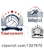 Clipart Of Volleyballs Nets And A Whistle With Text Royalty Free Vector Illustration by Vector Tradition SM