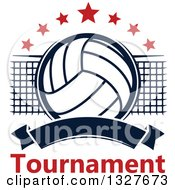 Clipart Of A Navy Blue Volleyball With Red Stars A Net And Blank Banner Over Tournament Text Royalty Free Vector Illustration