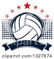 Clipart Of A Navy Blue Volleyball With Red Stars A Net And Blank Banner Royalty Free Vector Illustration