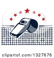 Clipart Of A Navy Blue Whistle With Red Stars Over A Net Royalty Free Vector Illustration