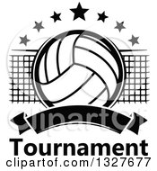 Clipart Of A Black And White Volleyball With Stars A Net And Blank Banner Over Tournament Text Royalty Free Vector Illustration
