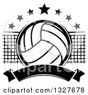 Clipart Of A Black And White Volleyball With Stars A Net And Blank Banner Royalty Free Vector Illustration