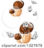 Clipart Of Cartoon Face Hands And Porcini Mushrooms Royalty Free Vector Illustration
